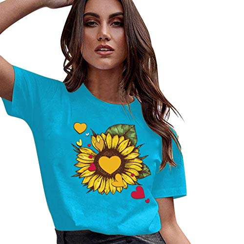 - GDJGTA Tops for Womens Trend Sunflower Graphic Tee Tops Heart Printed Short Sleeve T Shirt