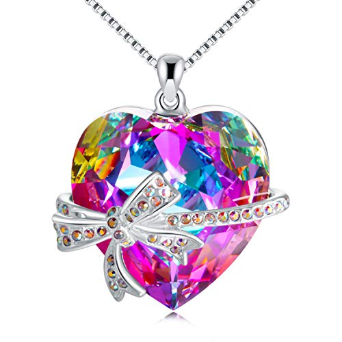 GAEA H Love Heart Pendant Necklace Wrap Dragonfly, Crystal from Swarovski Jewelry for Women Birthday (Love Pink Crystal Heart Necklace)