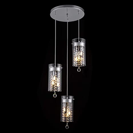 SHENGYADI 3 Light Glass U0026 Crystal Pendant Light Modern G9 Kitchen Island  Lighting Round Base Multi Pendant Fixtures, Chrome Finish     Amazon.com