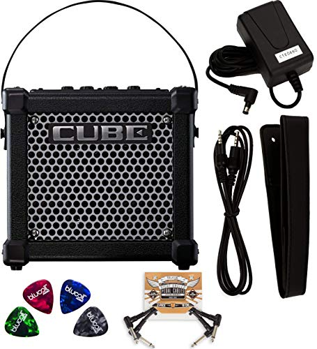 Roland MICRO CUBE GX 3 Watt Guitar Amplifier with Built-In Chromatic Tuner (Black) Bundle with 2-Pack of Blucoil Pedal Patch Cables and 4-Pack of Celluloid Guitar Picks ()