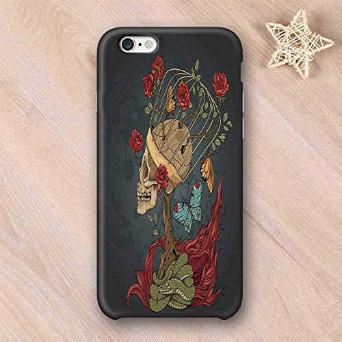 Skull Printing Compatible with iPhone Case,Evil Mexican Sugar Skeleton with Kitsch Bush of Roses Snake and Butterfly Artwork Compatible with iPhone 6 Plus / 6s Plus,iPhone 6/6s