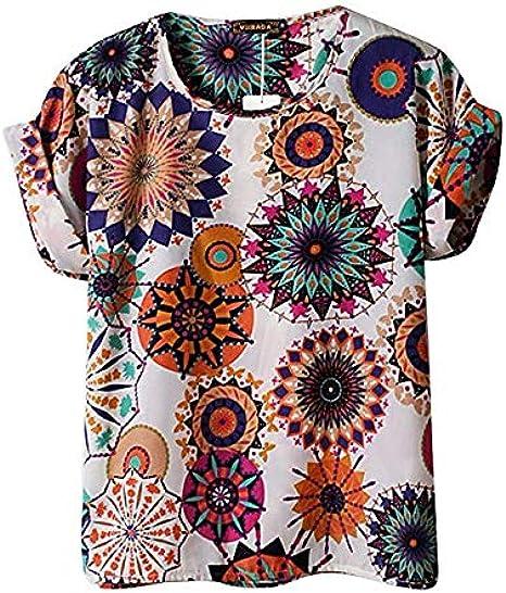 Camiseta Retro de Manga Corta de Gasa Retro con impresión de Camisa psicodélica de Moda Informal - Camisa de Verano para niña: Amazon.es: Ropa y accesorios