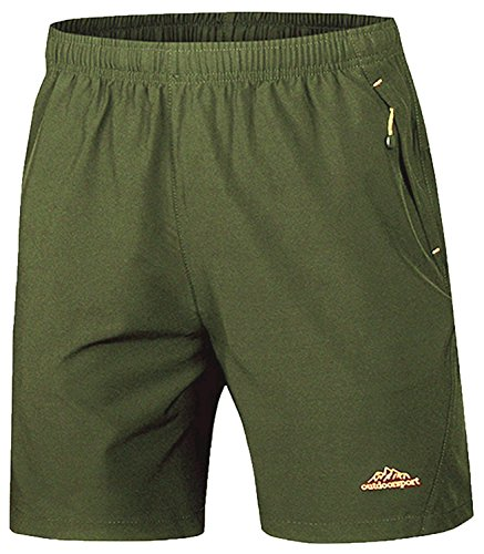TBMPOY Men's Sports Outdoor Quick Dry Shorts Zipper Pockets(ArmyGreen,L)