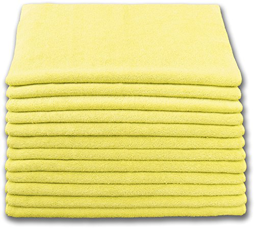 Heavy Duty Microfiber Terry Cloth 16x16 400gsm - Yellow Case of 180 by Direct Mop Sales, Inc.