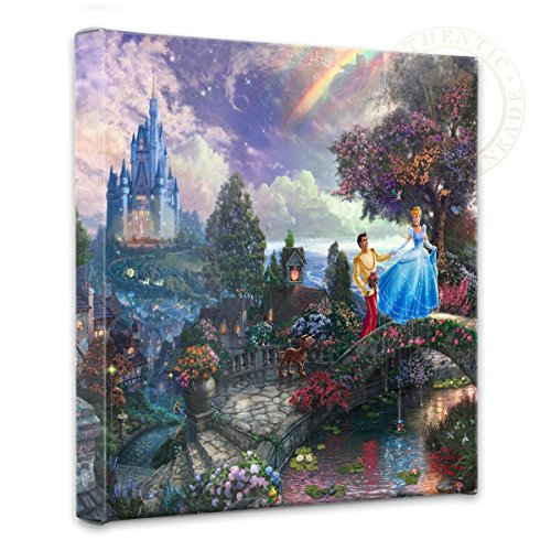 - Thomas Kinkade - Gallery Wrapped Canvas , Cinderella Wishes Upon a Dream , 14