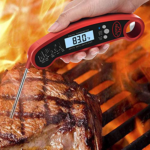 Akashi-Instant Read Digital Meat/Gourmet Food Thermometer Professional Super fast Waterproof Multi Usable LCD Screen Stove Oven Grill BBQ Rotisserie Sirloin Beef Chicken Turkey Steak Meat Thermometer (Thermometer Gourmet Meat)