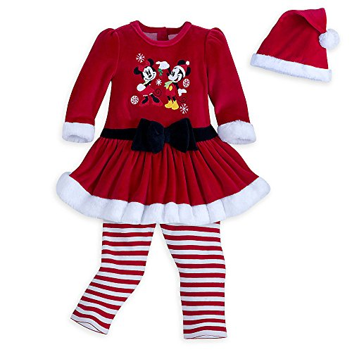 Disney Mickey and Minnie Mouse Mrs. Clause Dress Set with Hat Baby Girl 0-3 Months (Set Dress Velour)