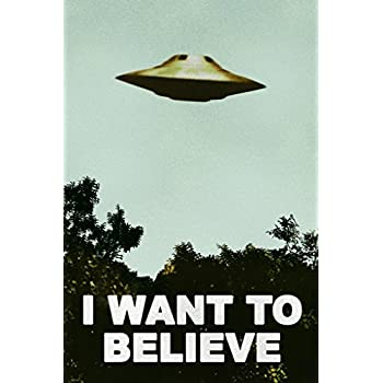 I Want to Believe UFO Artwork Alien TV Retro 90s Poster Wall Decor Movie Area 51 The Truth is Out There Merchandise Kitchen Decor for All Seasons Cool Wall Decor Art Print Poster 12x18