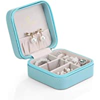 Vlando Small Faux Leather Travel Jewelry Box Organizer Display Storage Case Rings Earrings Necklace