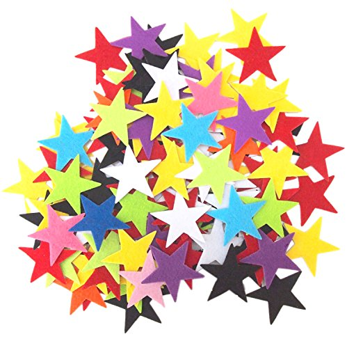 Playfully Ever After 1.5 Inch Mixed Color Assortment 85pc Felt Star Stickers
