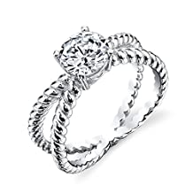 925 Sterling Silver bridal engagement ring jewelry set with cubic zirconias X cable shank