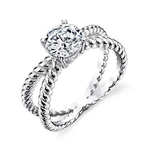 David Yurman Diamond Ring - 925 Sterling Silver bridal engagement ring jewelry set with simulated diamond cubic zirconias SOE032 X cable shank david yurman design