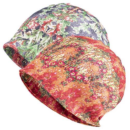 Jemis Skullies Beanies Thin Bonnet Cap Autumn Casual Beanies Hat (2 Pack Green & Orange)