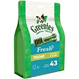 Greenies Dental Dog Treats, Teenie Size, Freshmint Flavor, (43 Treats 12 Ounces) Dog Dental Chews: for Clean Teeth and Healthy Gums