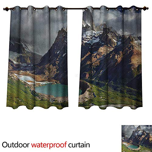 - Anshesix Landscape 0utdoor Curtains for Patio Waterproof Mount Fitz Roy and Laguna Torre Los Glaciares National Park Patagonia Argentina W63 x L63(160cm x 160cm)