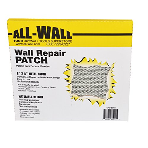 """All-Wall Drywall Repair Patches - Metal Aluminum Stick-On Adhesive Wall Patch (8"""" x 8"""" 10-Pack)"""