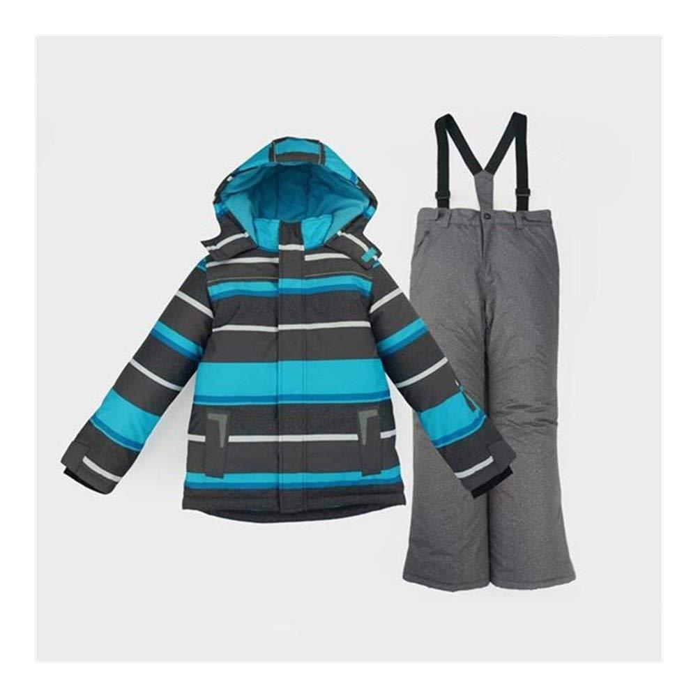 KNlang 男の子子供キッズスノースーツ屋外スキースーツセット冬暖かいスノーボード防水防風フード付きジャケットパンツ (色 : 青 Ski Suit Set, サイズ : XXS 98) 青 Ski Suit Set XXS 98