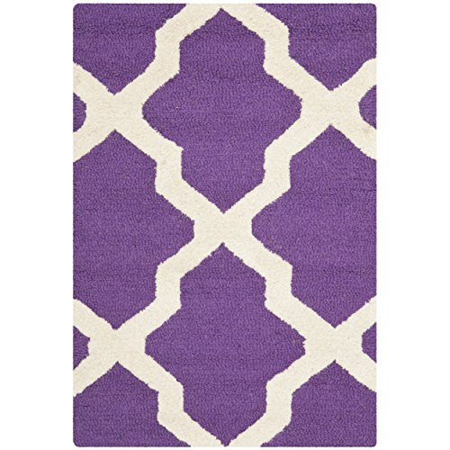 Safavieh Cambridge Collection CAM121K Handmade Moroccan Geometric Purple and Ivory Premium Wool Area Rug (2'6