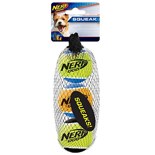 Nerf Dog 2in Squeak Tennis Ball 3-Pack: Blue/Green Blue/Orange and Black/Green, Dog Toy