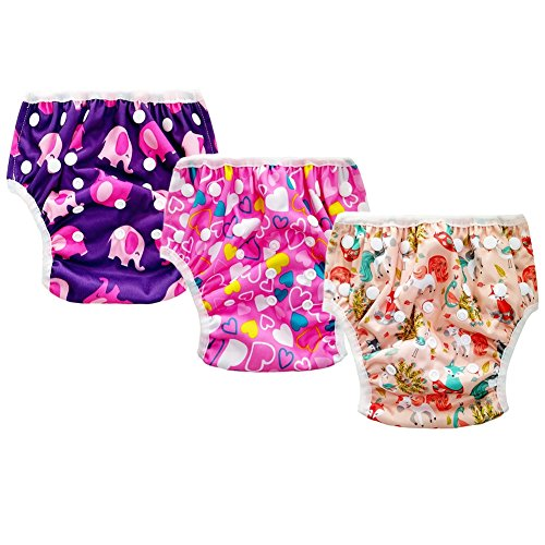 Baby Reusable Swim Diaper, 3pcs Adjustable Washable Absorbent Swimsuit for Swimming Lesson Baby Shower Gifts by BERTERI