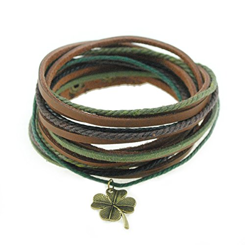 FRD.2Y Genuine Leather Cuff Wrap Bracelet,Unisex Multilayer Leather