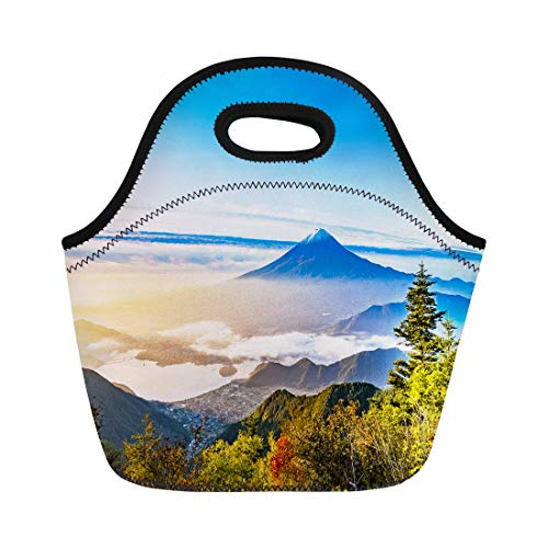 (Semtomn Neoprene Lunch Tote Bag Blue Landscape Mount Fuji in Japan Beautiful Fujisan Autumn Reusable Cooler Bags Insulated Thermal Picnic Handbag for Travel,School,Outdoors,Work)