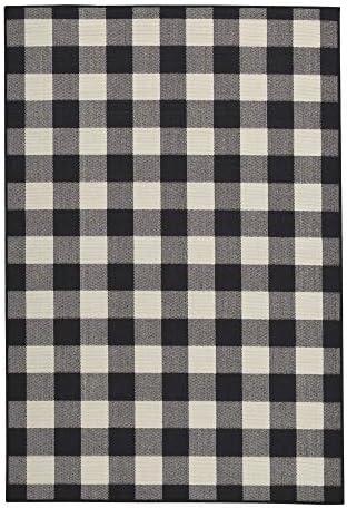 Signature Design by Ashley – Juji Large Rug – Checkerboard Pattern – Black White Gray
