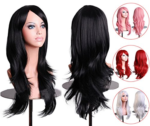 Hippie Wig Long Hair Black (28inch Women Wigs Black Curly Long Cosplay Wavy Hair With Free Wig Cap and Antistatic Comb,Tititina)