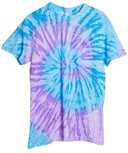 Ragstock Tie Dye T-Shirt, Spiral-Lavender-Blue - XL