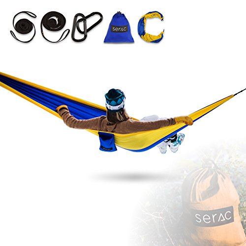 Blue Gathered (Serac [Durable Hammock & Strap Bundle] Classic Portable Single Camping Hammock with Suspension System - Perfect for the backpack, lightweight travel and camping (Golden State Yellow/Blue))