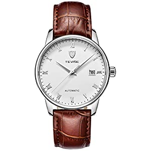 TEVISE Men's Fashion Dress Automatic Watch Thin White Dial Red Brown Genuine Leather Band
