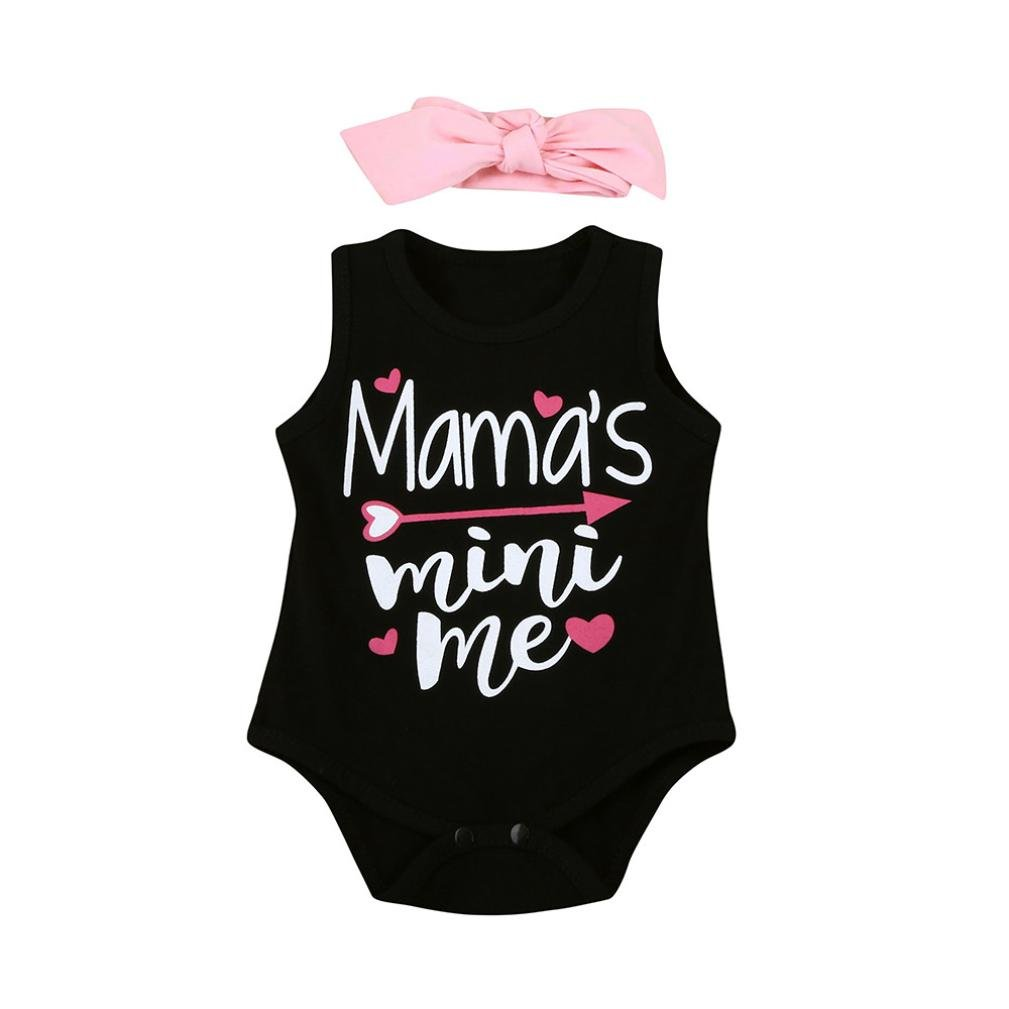 Lavany Baby Rompers 2Pcs Toddler Boys Girls Letter Printed Jumpsuit For 0-18 Months