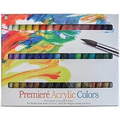 Pro-Art Premiere Acrylic Paints, 22ml, Assorted Colors, 48-Pack