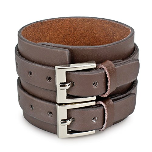 Casoty Jewelry Cool Wide Punk Rock Genuine Leather Tribe Wristband Cuff Bracelet Bangle Rope Black (Brown Opt - Wrist Leather Genuine Cuff