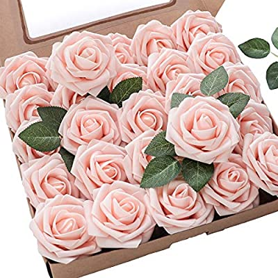 Floroom Artificial Flowers 50pcs Real Looking Blush Fake Roses With Stems For Diy Wedding Bouquets Pink Bridal Shower Centerpieces Floral Arrangements Party Tables Home Decorations Amazon Sg Home