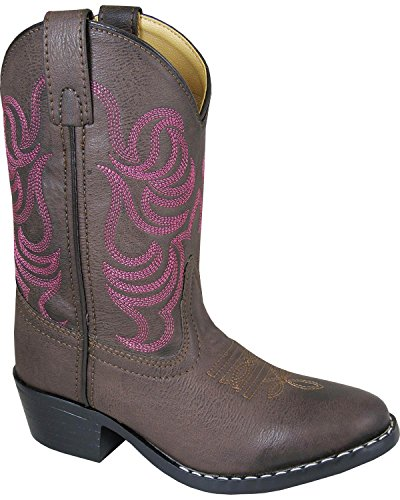 Smoky Mountain Girls Brown with Pink Stitch Monterey Western Cowboy Boots Brown ()