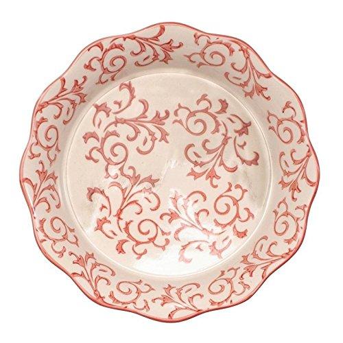 Bia Cordon Bleu Heritage Fluted Pie Dish with Red Swirls - Stoneware