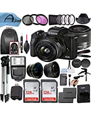 $894 » Canon EOS M50 Mark II Mirrorless Digital Camera 24.1MP Sensor with EF-M 15-45mm is STM Lens, 2 Pack SanDisk 128GB Memory Card, Backpack and A-Cell Accessory Bundle (Black)