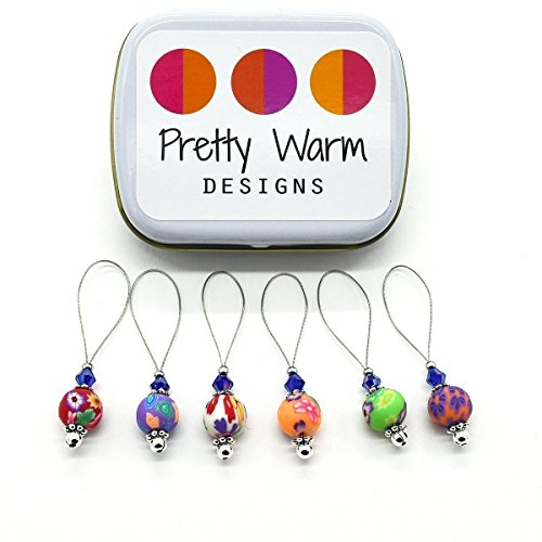 Marker Knitting Beads - Multi Color Flower Bead Snag Free Stitch Markers Jewelry for Knitting (Set of 6 with Tin)