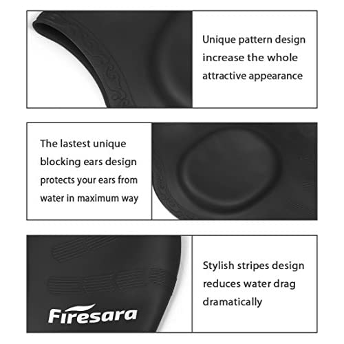Firesara Swimming Cap for Long Hair, Silicone Swim Cap for Dreadlocks or Short Hair Waterproof Unisex Premium Earmuffs for Women Men Adult Youths Keeps Hair Clean Ears Dry with Nose Clip and Ear Plugs