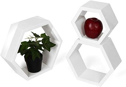 QXTT Juego De 3 Estante Flotante Hexagonal Blanco Home Deco ...