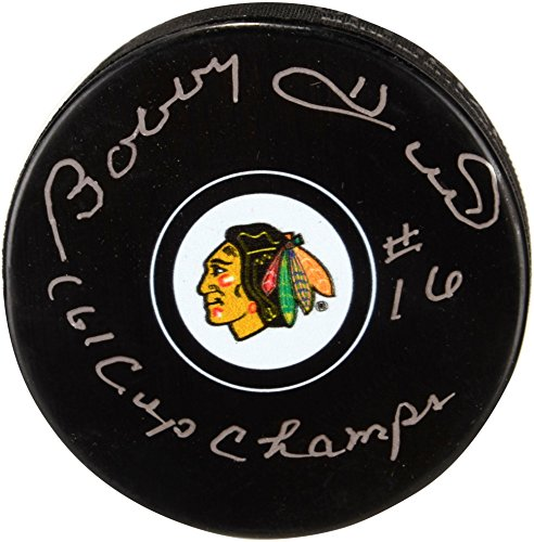 - Bobby Hull Chicago Blackhawks Autographed Hockey Puck with 1961 SC Champs Inscription - Fanatics Authentic Certified