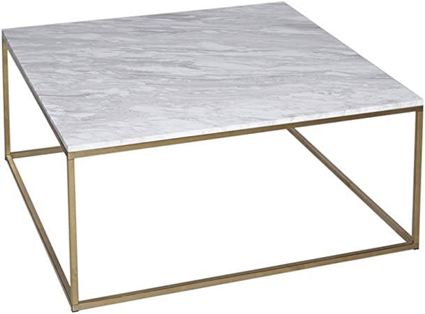Gillmore Space Marbre Blanc Table Basse Carre D Or Metal