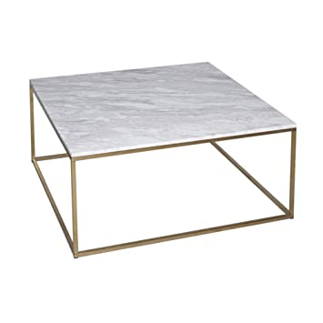 Table Basse En Marbre Blanc.Gillmore Space Marbre Blanc Table Basse Carre D Or Metal