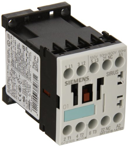 Siemens 3RT10 16-1AT62 Motor Contactor 3 Poles Screw Terminals S00 Frame Size 1 NC Auxiliary Contact 600V at 60Hz AC Coil Voltage