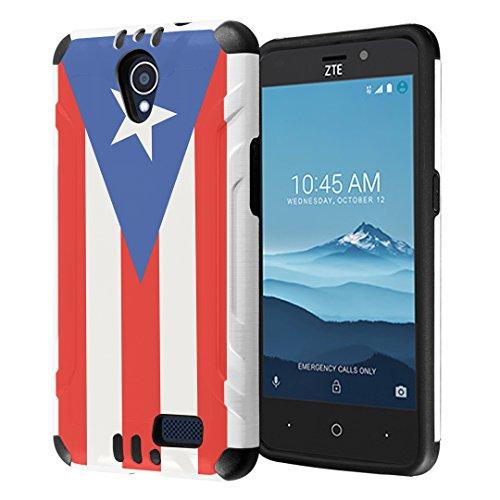 (ZTE Sonata 3 Case, ZTE Maven 2 Case, ZTE Prestige / Avid Plus / Avid Trio Case, Dual Layer Silm DF Armor Case for ZTE Sonata3 / Maven2 / AvidPlus / AvidTrio / Prestige- (Puerto Rica Flag))