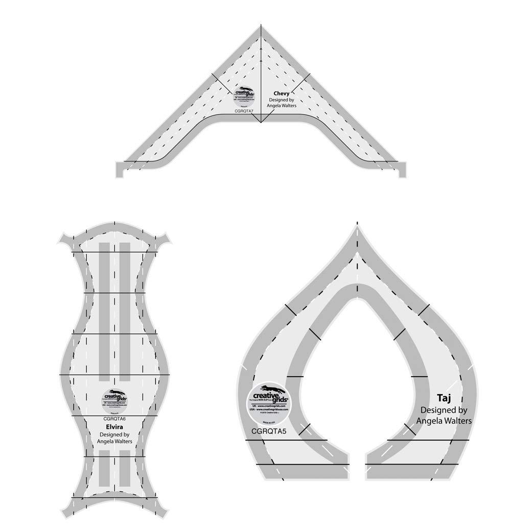 Creative Grids Machine Quilting Tool 3 Pack - Taj, Elvira, Chevy - Designed by Angela Walters