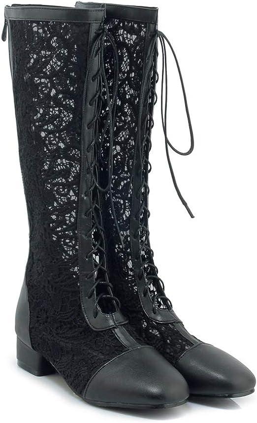 DESY Sandalias con tacón en Bloque para Mujer Tul Botas de Moda de ...
