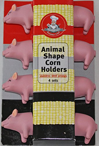 Gourmet Chef Animal Shaped Corn on the Cob Holders, 4 Pairs (Pig)