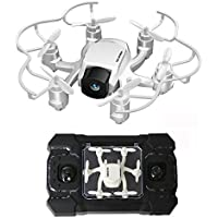 2.4GHz Six Gyro Foldable Drone FPV WIFI Real-Time Video Remote Controlled Rechargeable Mini Quadcopter Pocket Aircraft with HD Camera Spider(White-FQ126)